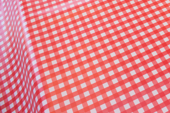 Lightweight coated fabric in red-white kitchen checks