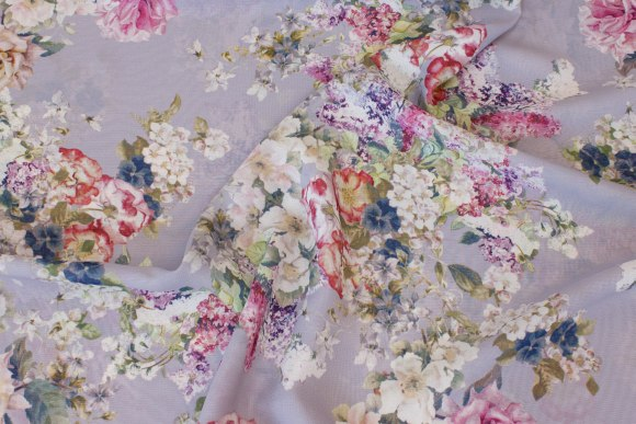 Light dusty-purple, slightly transparent chiffon with flowers