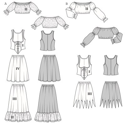 Make the skirt ragged or gathered up to show the petticoat. Lace up the corset over the peasant blouse with elastic neck and sleeve edges. The pirate wench is sure to turn heads!