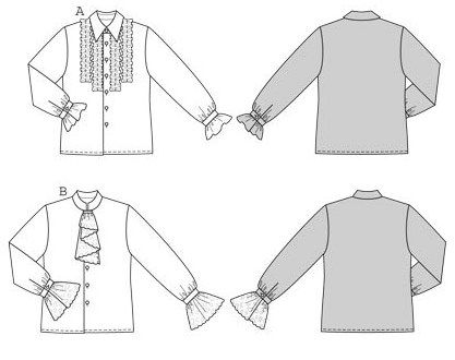 This shirt sewing pattern is the basis for many different ideas. Shirt A with collar and ruffles could be styled as hippie or pirate, depending on the fabric. Shirt B has an upright collar and jabot, just the right outfit for an Amadeus Mozart or a Casanova! You'll surely dream up some other possibilities too!.