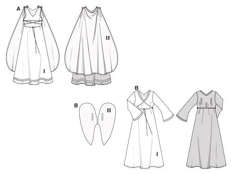 B in normal width. The sleeveless dress A (with lacing) is for the girl from Ancient Rome.