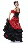 Swirling skirt with elastic waist casing and a slinky bustier top with lacing: just right for daring dancing! View A: bustier top with narrow shoulder straps and ruffles, teamed with the skirt with inside frills to be shown off when dancing. View B: bustier top with narrow shoulder straps and sleeves with elastic waist casing that can be pulled down over shoulders, teamed with the skirt with outside frills on show!