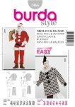 AB wide A three-piece Santa Claus costume, with back zipper and fur trim, with easy elastic-waist trousers/pants and a pointed hat B Costume in Harlequin style in three fabrics with neck ruff.