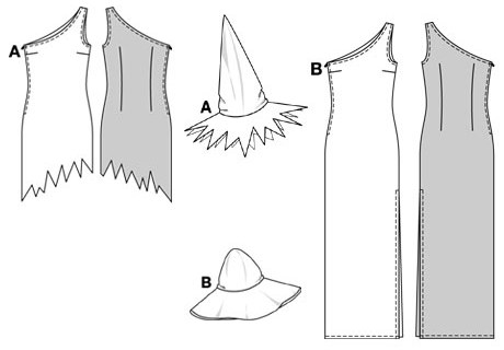 AB close-fitting A: asymmetrical short dress with zigzag hem and side zipper B: narrow long dress in the same shape. The appropriate hat with broad brim goes with both outfits