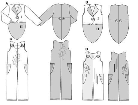AB: very wide, CD: wide. casual bibbed trousers/pants in two lengths, combined with dinner jacket/tuxedo A or waistcoat/vest B, both made up in four fabrics.