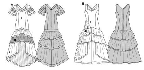Flamenco or Samba dress, close-fitting, with low-set skirt tiers. A: with cap sleeves, B: sleeveless