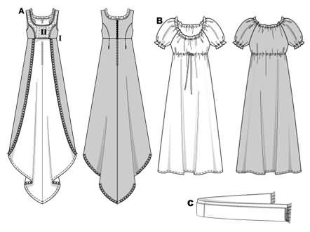 Empire-line dress (Josephine), consisting of an overdress (A) with short bodice, divided skirt at front and train at back. Underneath dress (B) washerwoman style with puff sleeves and drawstring casing. Dress can be worn alone, plus scarf with fringed border (C).