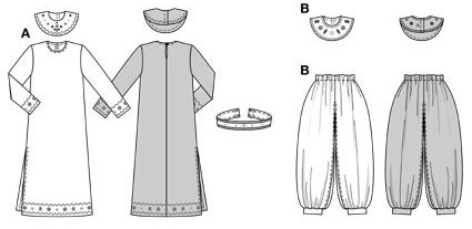 A: wide long dress with side slit, decorated with zigzag braid and coloured glass beads on hem and sleeve edges, broad shoulder collar and ornamental belt.