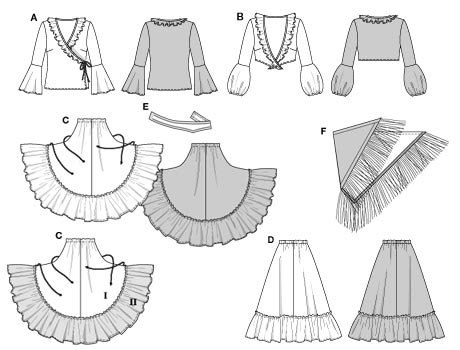 Frilled/flounced blouse, A wrapped around, B knotted, with bare-midriff und, plus wide, ruffled skirt C which is gathered at the side and could have an underskirt D with hem frill visible when wearer does Spanish dances!