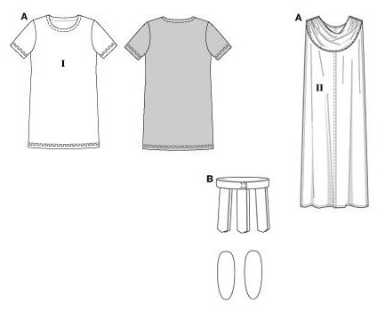 Knee-length shirt with decorative border/panel, toga with classic folds, plus belt and shin-pads!.