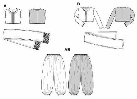 Jacket or bolero in normal width; very wide baggy trousers/pants, teamed with a decorative scarf (fringed if desired).