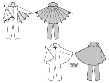 Zippered jumpsuit/cat-suit with large collar and separate cape (held in place with hook-and-loop / Velcro fastening). View B with belt in contrasting colour.