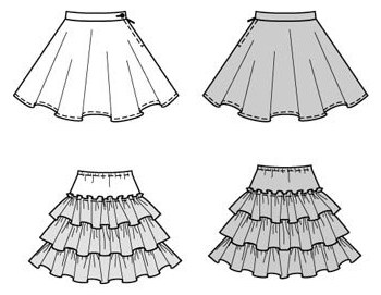 A touch of the 1950s! Short full skirt with ruffled tulle petticoat.