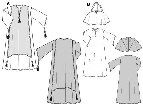 Very wide, floor-length garment. A: for a sheik with decorative jacket and tassels, B: for a monk with a separate cowl/short hooded cape.