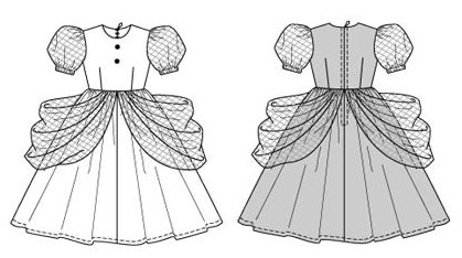 Delightful dress with wide gathered skirt supported by an underskirt, plus pretty puff sleeves and tulle overskirt sections gathered at the sides.