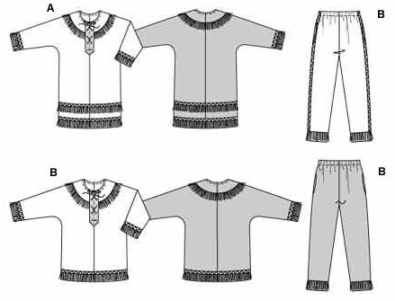 Shirt and very wide trousers/pants with elastic waist, cord lacing and typical Indian braid trims and fringes.