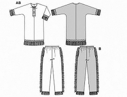 "Shirt and very wide trousers/pants with elastic waist, cord lacing and typical ""Red Indian"" decorative trim and fringing.