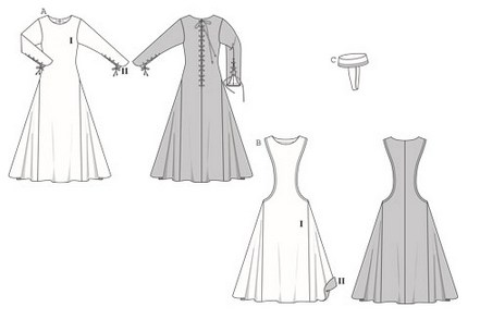 AB Dress, normal width, with godets. Dress B, sleeveless, with deep side cut-outs, accentuated by topstitched trim. Long-sleeved dress A can be worn alone or underneath dress B. It has decorative lacing on the back slit and on the sleeve slits, where the white sleeves stitched underneath are visible. Don't forget the typical head-covering C to complete the picture for historic festivals and medieval markets.