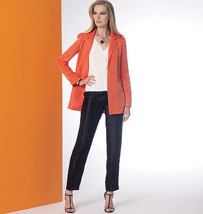 Notch-Collar Back-Pleat Jacket, Top, Dress and Pants, Vogue Wardrobe