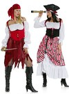 Make the skirt ragged or gathered up to show the petticoat. Lace up the corset over the peasant blouse with elastic neck and sleeve edges. The pirate wench is sure to turn heads!.