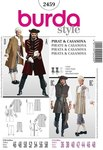 ABCD: normal wide AD: collarless long jacket with broad sleeve turn-ups, lace ruffles and trim B: buttoned waistcoat/vest with back slit C: knickerbocker trousers/pants below-the-knee tie-bands.
