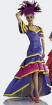 Flamenco or Samba dress, close-fitting, with low-set skirt tiers. A: with cap sleeves, B: sleeveless.