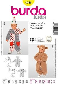 Teddy bear costume, bear, clown. Burda 4946.