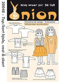 Top, short jacket, vest and skirt. Onion 20048.