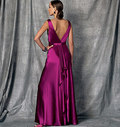 Bias, sleeveless, floor-length dress has V-neckline, close-fitting, self-lined bodice and midriff. Skirt left-back extending into pleated drape, wrong side shows,  concealed invisible back zipper, and hemline slit. Very narrow hem finish.