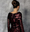 Close-fitting, long-sleeve, floor-length, lined dress has ruched collar and right side-front, left yoke, back extending into train, continuous bias for neckline piping and armhole binding, and invisible back zipper. Note: No provisions provided for above and below waist adjustments.