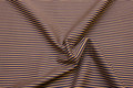 Cotton-poplin with narrow stripes in blue and dirt-brown.