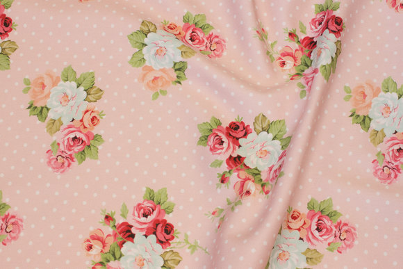 Delicate soft red cotton-twill with dots and roses