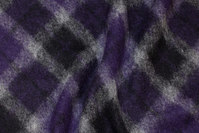 Felt wool with diagonal checks in purple, black and grey