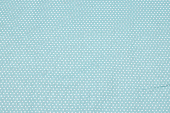 Mint-green, firm cotton with white mini stars
