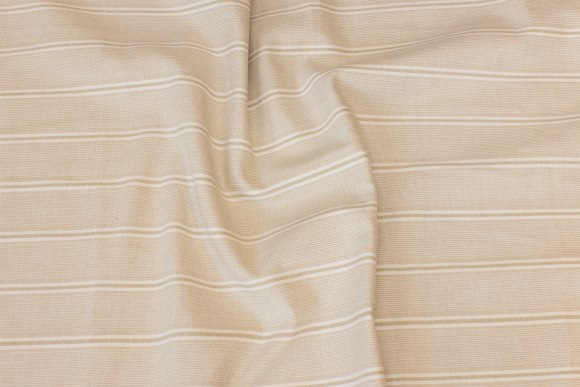 Striped cotton in sand and off white, 4 cm striber