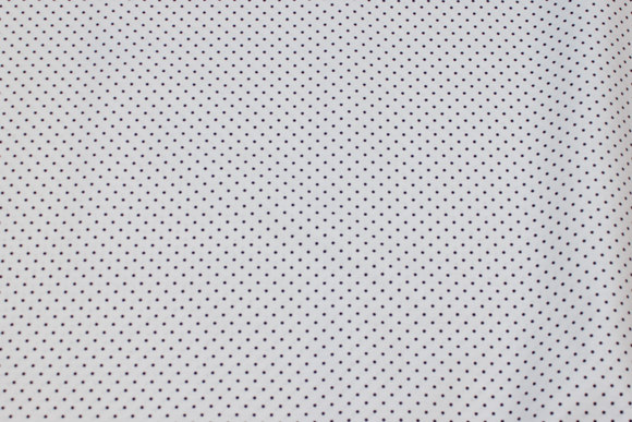 White firm cotton with black mini-dots