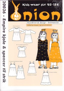 Onion 20036. Empire dress and spencer for knit.