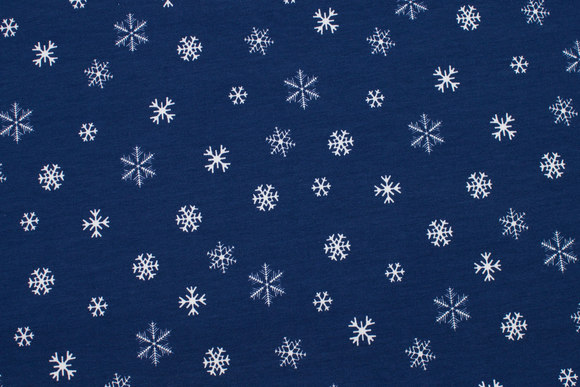 Navy cotton-jersey with white ice crystals