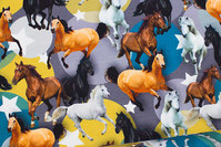 Cotton-jersey with horses.
