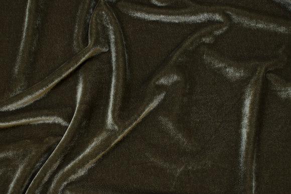 Stretch silky-velvet in light army-green