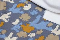 Grey, dove-blue, brass sweatshirt fabric with supersoft fleecebagside