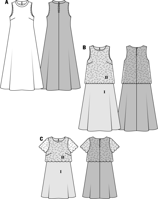 The sleeveless maxi dress view A with a neckline band is ideal for interesting prints. It has the chic styling of the Seventies. Dress view B is given a casually elegant touch with an over top of novelty fabric. The over top is caught in at the edges of the neckline. The short sleeved dress view C has girlish charm. BC: Fusible interfacing, 36 x 8 ins (90 cm x 20 cm). ABC: 1 button.
