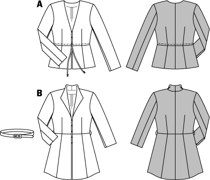 Both jackets have a slightly higher waist and easily lend a chic touch to any outfit. Although your favorite knit cardigan is great for a casual look, some occasions may call for a bit more elegance. Choose the jacket which suits your style and best flatters your figure. AB: Fusible interfacing, A: 36 x 32 ins (90 cm x 80 cm); B: 36 x 44 ins (90 cm x 110 cm). Hook-and-eye fastener, A:  3x; B: 5x. A: Cording, 1-3/4 – 2-1/8 yds (1.60 – 1.85 m). B: Buckle with prong, bar width 3/4 in (2 cm). 3 eyelets.
