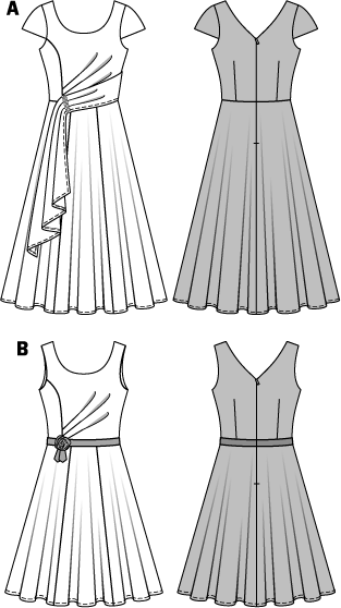 An enchanting evening or cocktail dress with a bell-shaped skirt. The pleats at one side of the bodice, coming out of the panel seam, are a real eye catcher. Ribbons and a small flower emphasize the waist of the shorter sleeveless dress. The long evening style has small cap sleeves and the sash at one shoulder mirrors the pleats. AB: Fusible interfacing, 36 x 18 ins (90 cm x 45 cm). Invisible zipper, 24 ins (60 cm) long. A: Trim, 3/4 in (2 cm) wide, 4 ins (10 cm). B: Ribbon, 1 inch (2.5 cm) wide, 1-3/4–1-7/8 yds (1.50 – 1.70 m). .