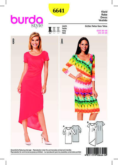 Jersey Dress, Round Neckline, Side Pleats