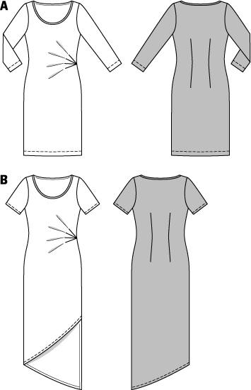 A sleek, narrow jersey dress can be quite sophisticated. Four pleats, radiating from the side seam give the fitted dress extra flair. Likewise the angled hem of the short sleeve dress. The dress with 3/4-sleeves ends just past the knee and pleases with a cheery and colorful batik print.   AB: A twin sewing machine needle.