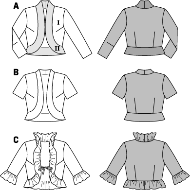 Still looking for a separate to team up with a sleeveless dress or top? Pick from one of three stylish bolero jackets with a shaped band or with frills. All have either a hook fastening or are tied with ribbons.  AB: Fusible interfacing, 36 x 24 ins (90 cm x 60 cm). A: Hook-and-eye fastener. C: Satin ribbon, 3/8 in (1 cm) wide: 24 ins (60 cm). .