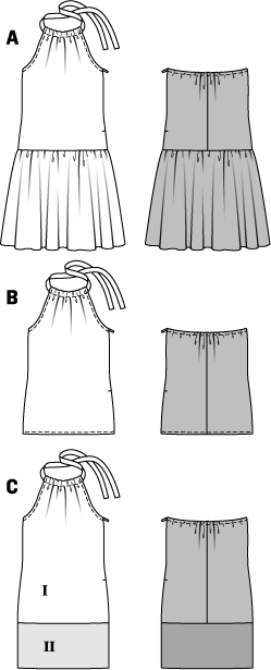 Great for hot summer days – the sunback dress with skirt frills at the hips. A drawstring at the neckline gathers the front. A narrow elastic casing keeps the back from slipping. The simple short top and dress with a contrasting band complete the travel wardrobe.  Invisible zipper, 16 ins (40 cm) long. Elastic, 1/4 in (0.6 cm) wide: 14–18 ins (35–45 cm).