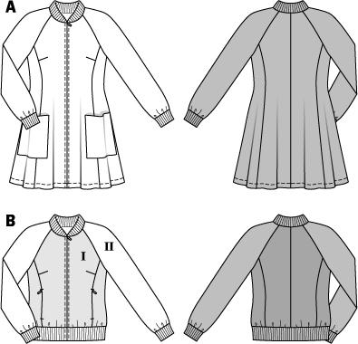Coat – Blouson – Zipper – Knit Bands Fresh look for sporty girls. The flared lightweight coat with patch pockets and the blouson with zipper pockets both have rib knit bands, are wonderfully simple and easy to mix and match. Fusible interfacing, A: 36 x 42 ins (90 cm x 105 cm); B: 36 x 26 ins (90 cm x 65 cm). 1 separating zipper, A size 8 34: 32 ins (80 cm); sizes 10–18 (36–44): 34 ins (85 cm) long; B sizes 8–14 (34–40): 22 ins (55 cm); sizes 16, 18 (42, 44): 24 ins (60 cm) l.