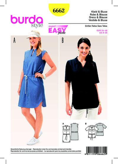 Dress, Blouse, Casual Drawstring Casing